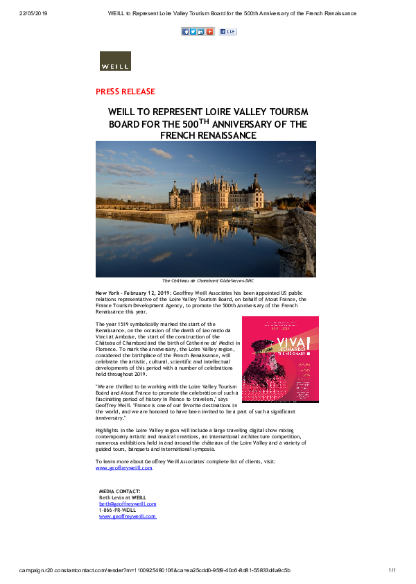 WEILL to Represent Loire Valley Tourism Board for the 500th Anniversary of the french Renaissance