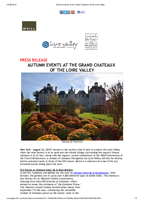Autumn Events at the Grand Chateaux of the Loire Valley