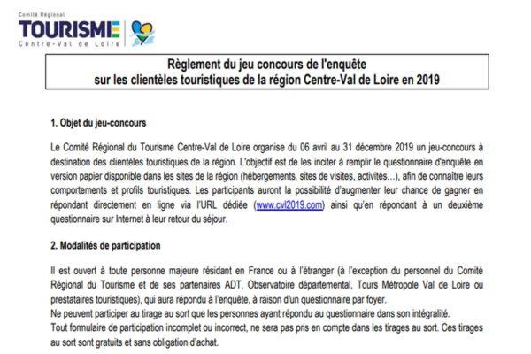 Règlement du jeu concours de l'étude sur les clientèles touristiques en région Centre-Val de Loire 2019