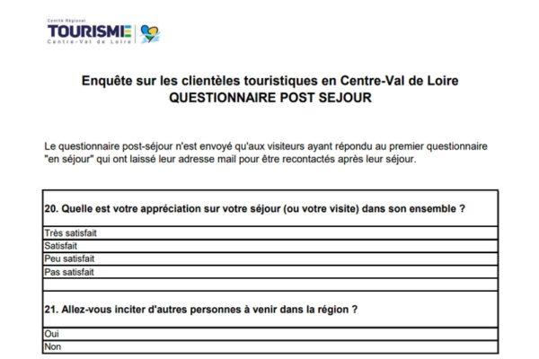 Questionnaire post-séjour de l'étude sur les clientèles touristiques en région Centre-Val de Loire 2019