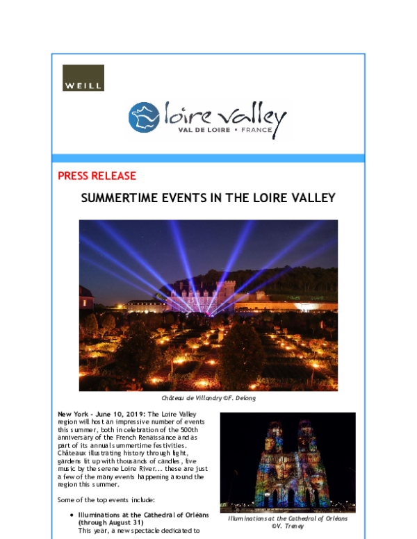 Summertime events in the Loire Valley