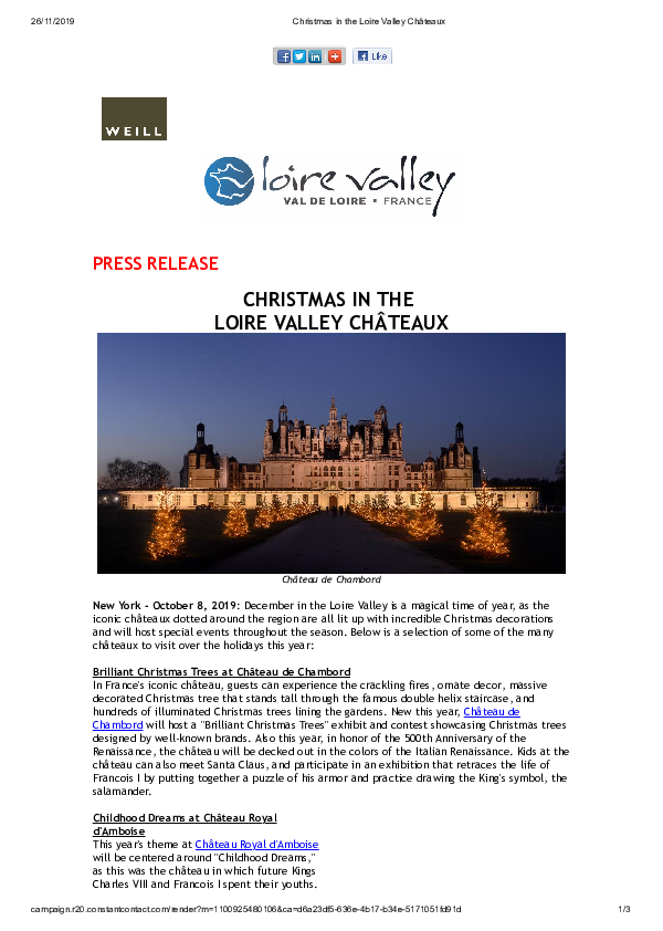 Christmas in the Loire Valley Châteaux